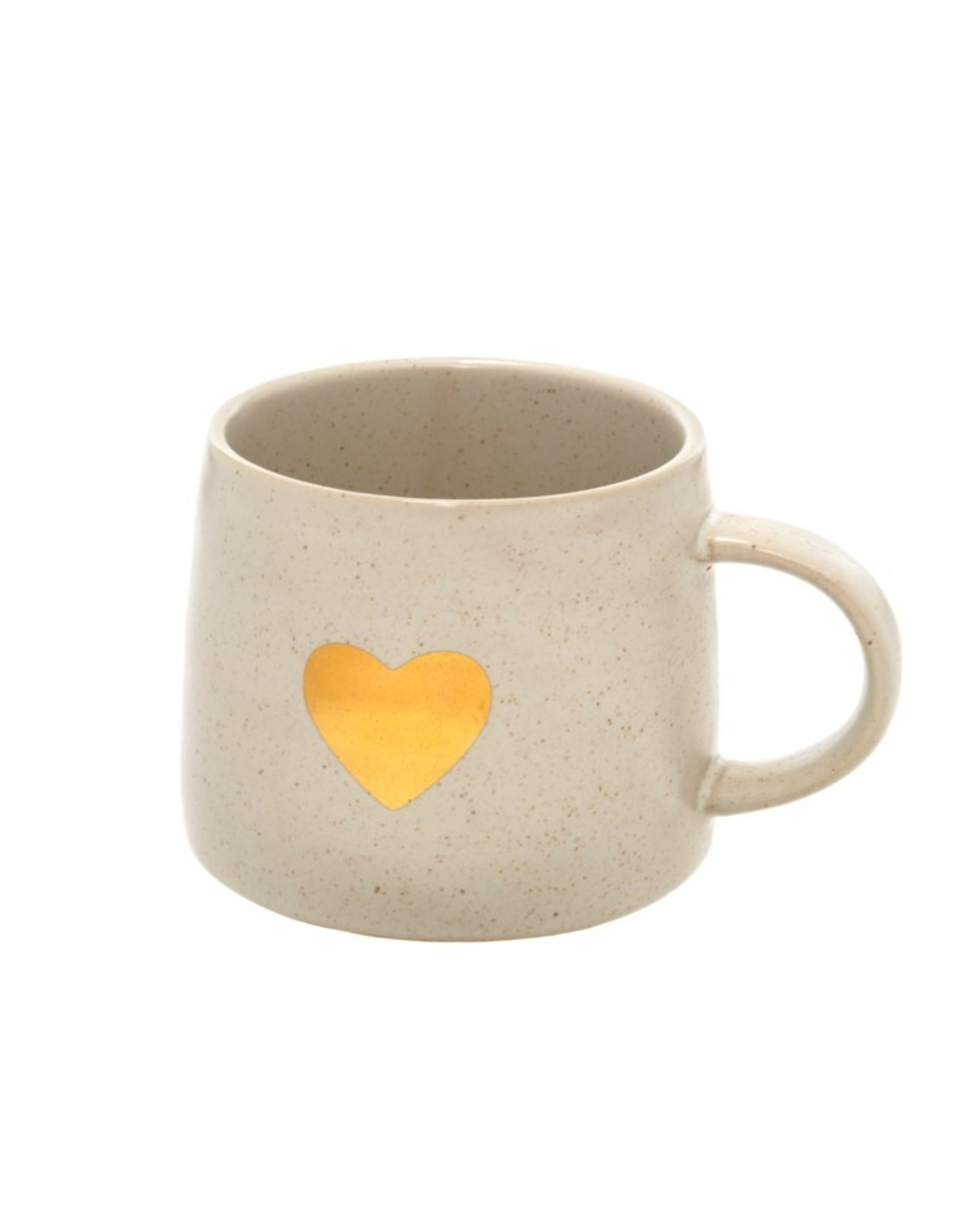 Gold Heart Mug white