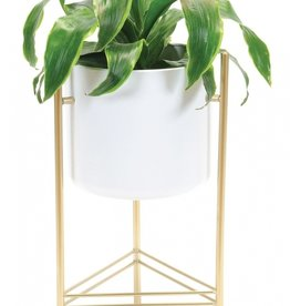 Support pour plante blanc/or