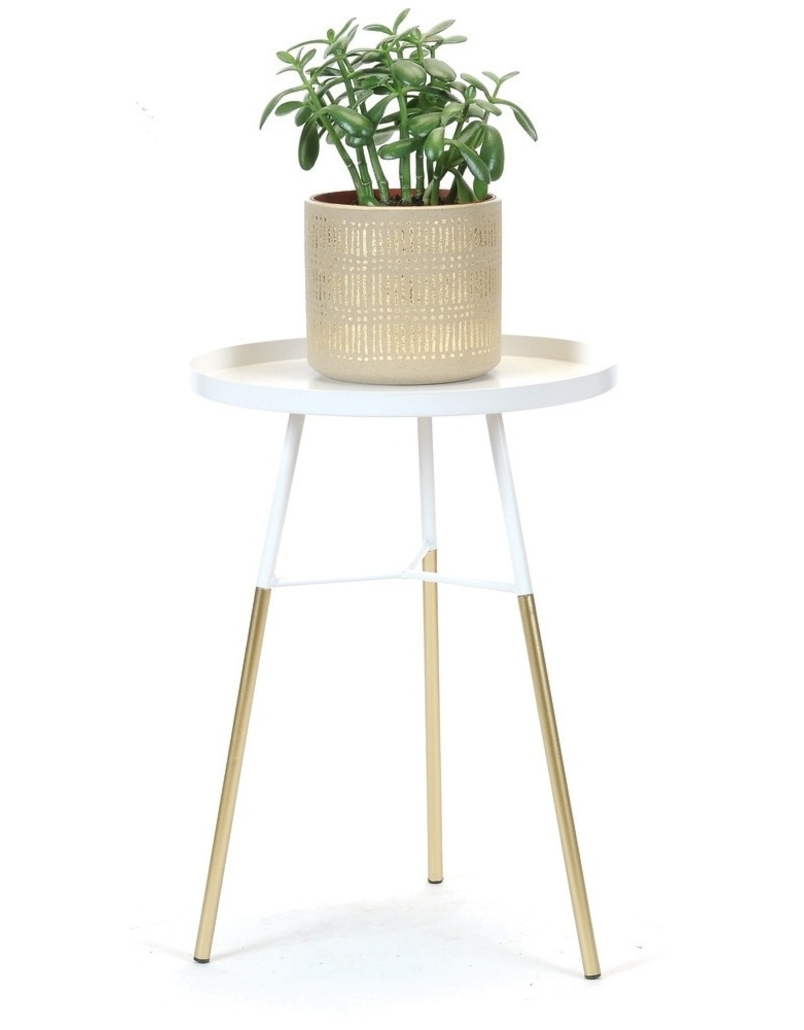 Table d'appoint blanc/or