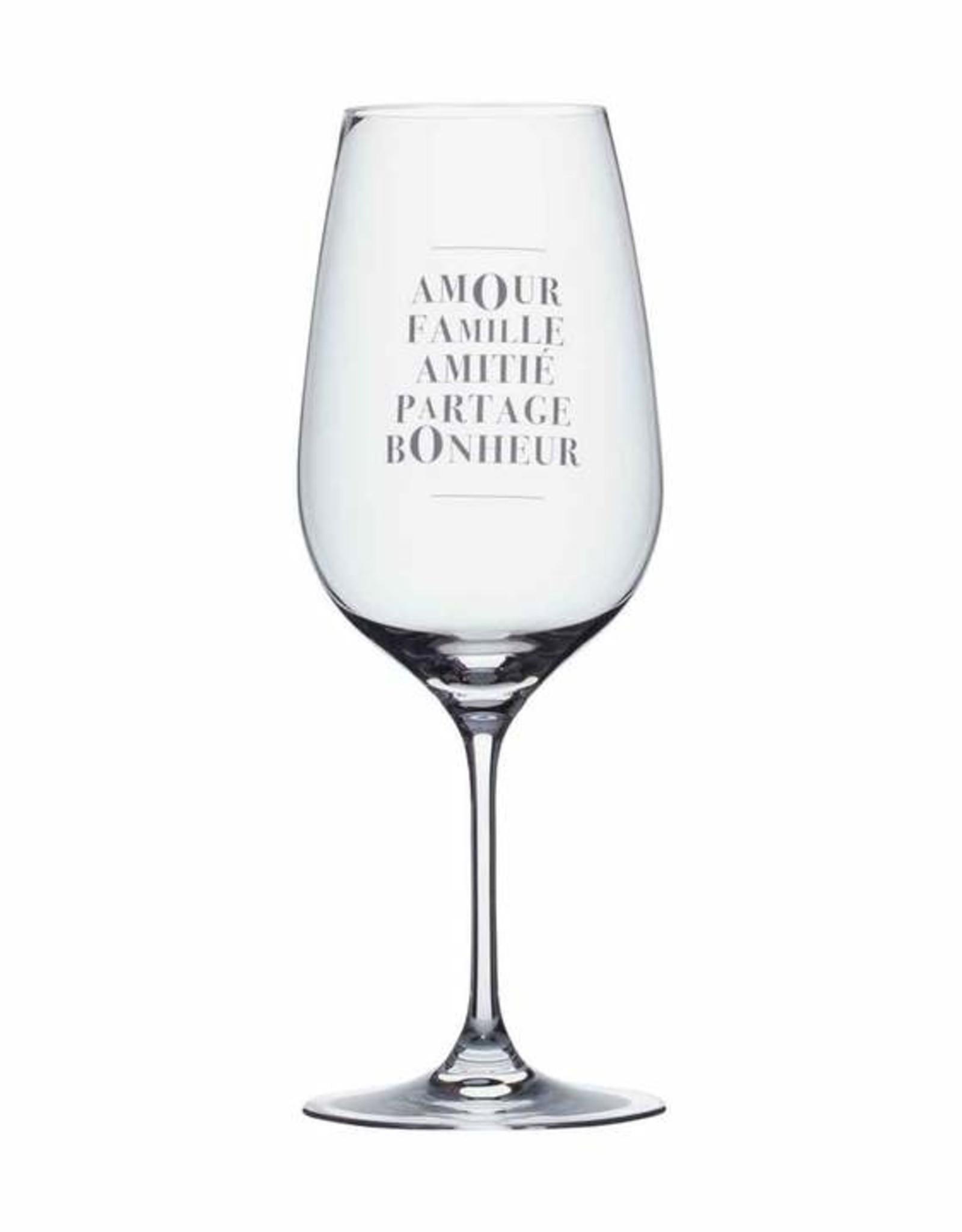 Verres à vin  Amour Famille Amitié