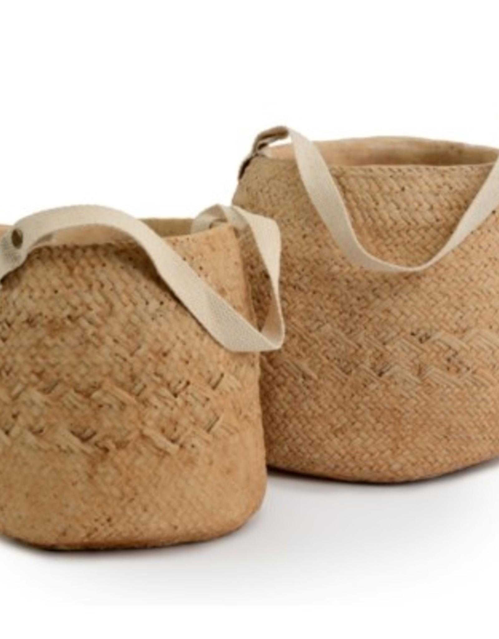Pot panier tissé en ciment avec poignée en coton (petit)