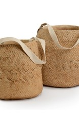 Natural Basket Weave Cement Pot with Cotton Handle (large)