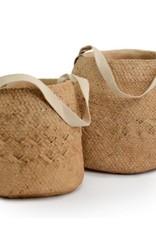 Pot panier tissé en ciment avec poignée en coton (large)