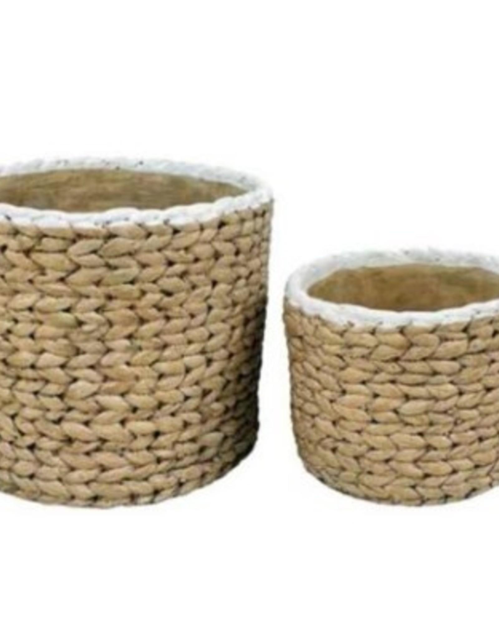 White Trim Basket Weave Cement Pot (large)