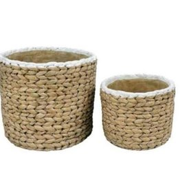 White Trim Basket Weave Cement Pot (large)
