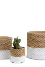 Block White Basket Weave Cement Pot (medium)