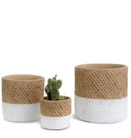 Block White Basket Weave Cement Pot (medium)