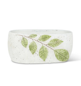 Oval Green Leaf Planter 5x9''