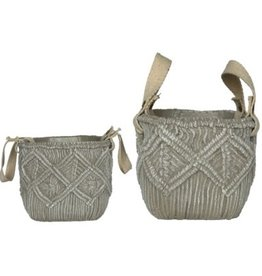 Grey Weave Cement Pot (small)