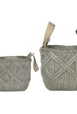 Grey Weave Cement Pot (large)
