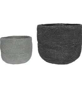 Pot tissé en ciment gris (petit)