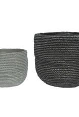 Dark Grey Weave Cement Pot (large)