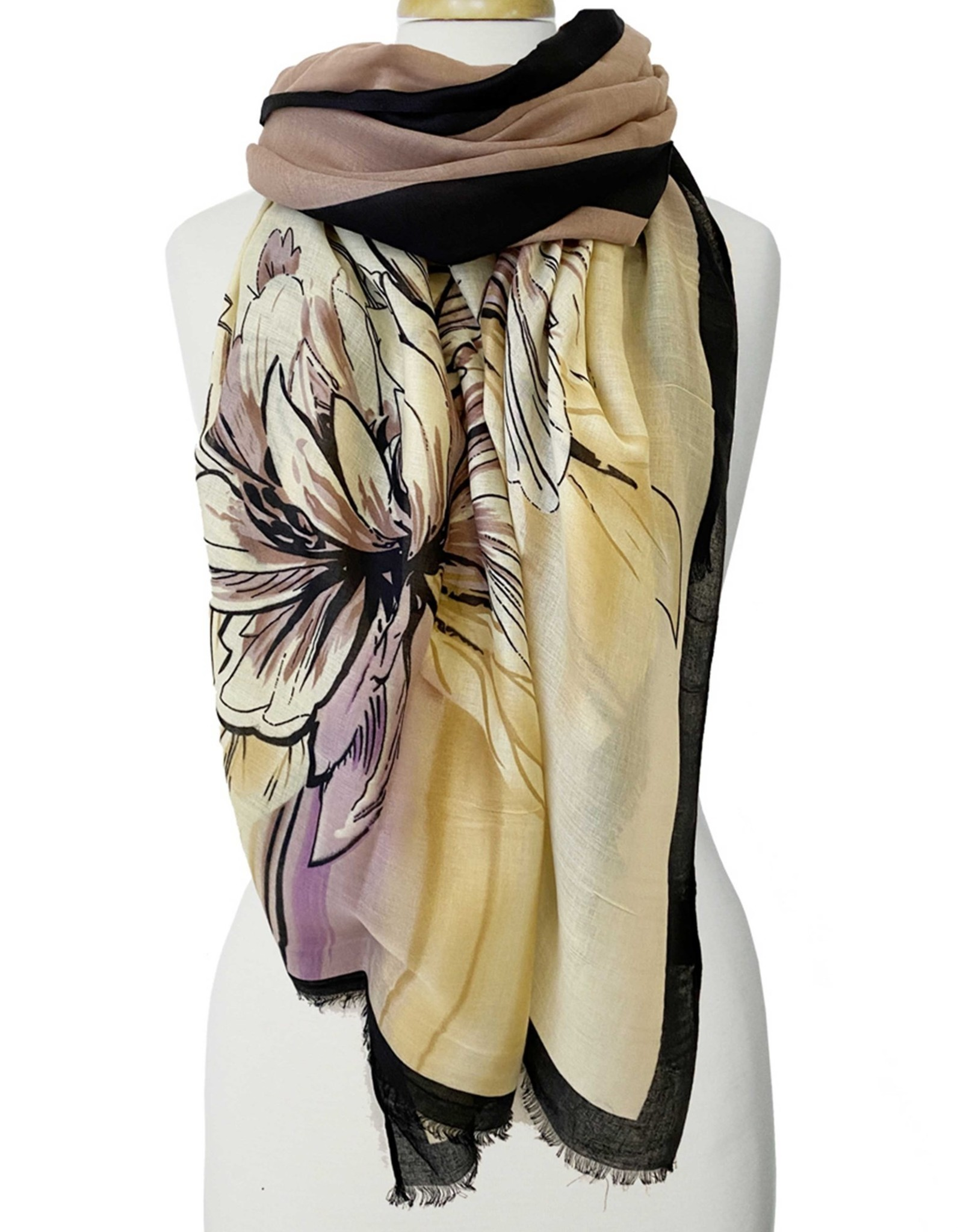 Large Flower Print Scarf-yellow