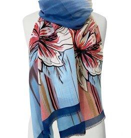 Foulard imprimé grandes fleurs-bleu marin