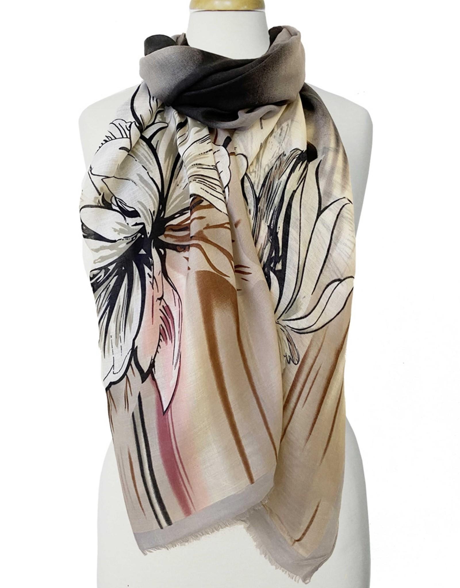 Foulard imprimé grandes fleurs-gris