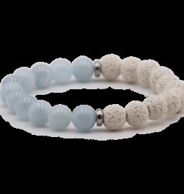 Aquamarine and Lava Bracelet