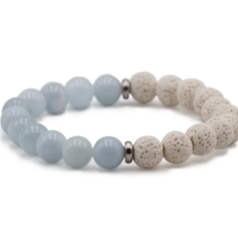 Bracelet aigue-marine et pierre de lave