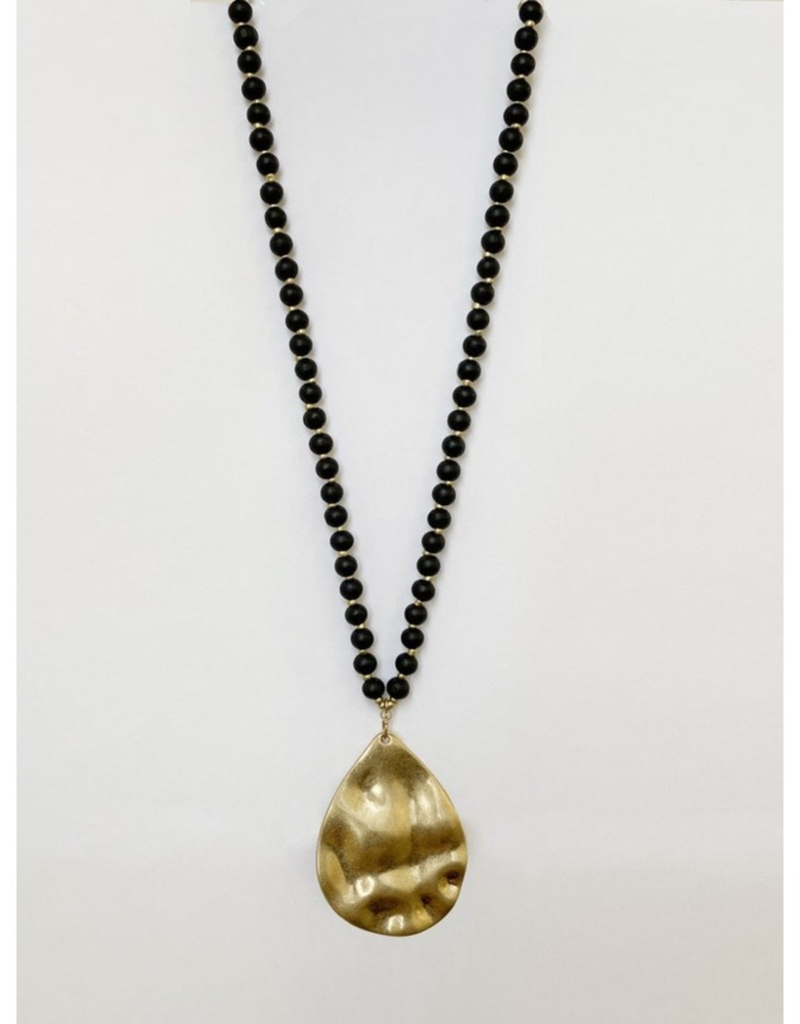 Long  Beaded Wooden Necklace with Worn Metal Pendant-black/gold