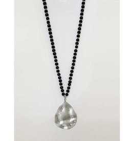 Long  Beaded Wooden Necklace with Worn Metal Pendant-black/silver