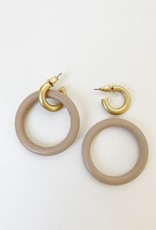 Wooden Ring on Worn Finish Metallic Hoops-pink/gold