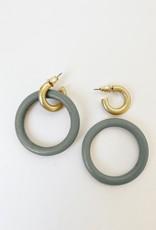 Anneau de bois sur anneau métallique  au fini usé-gris/or