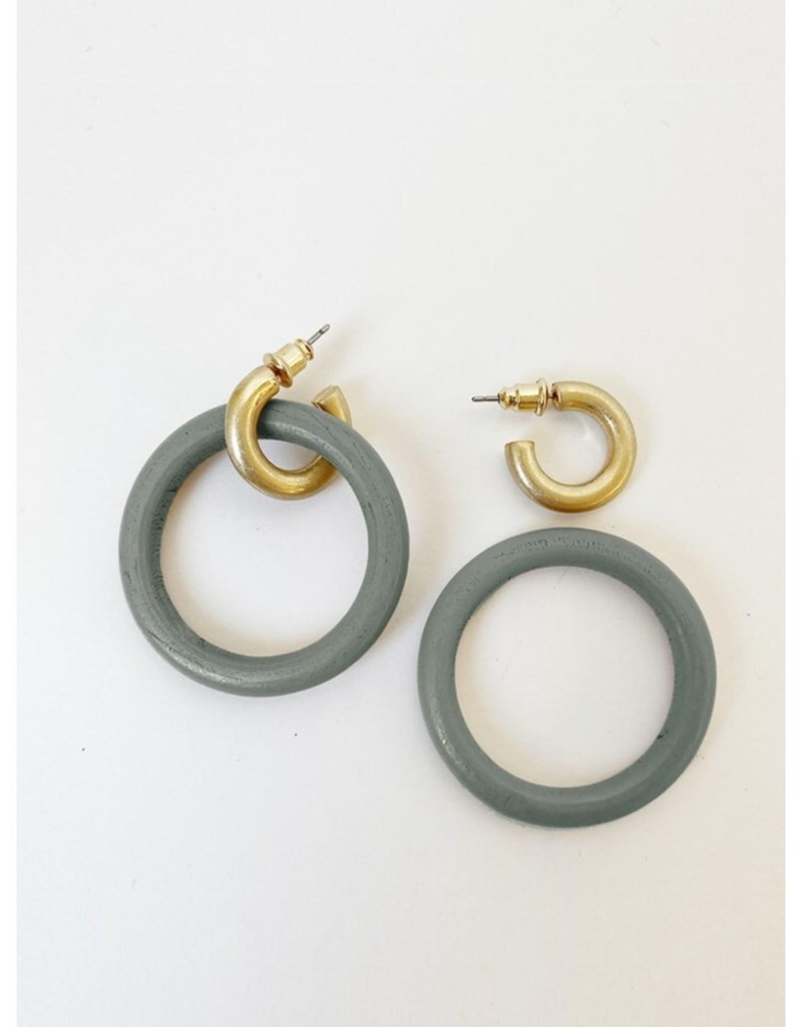 Wooden Ring on Worn Finish Metallic Hoops-grey/gold