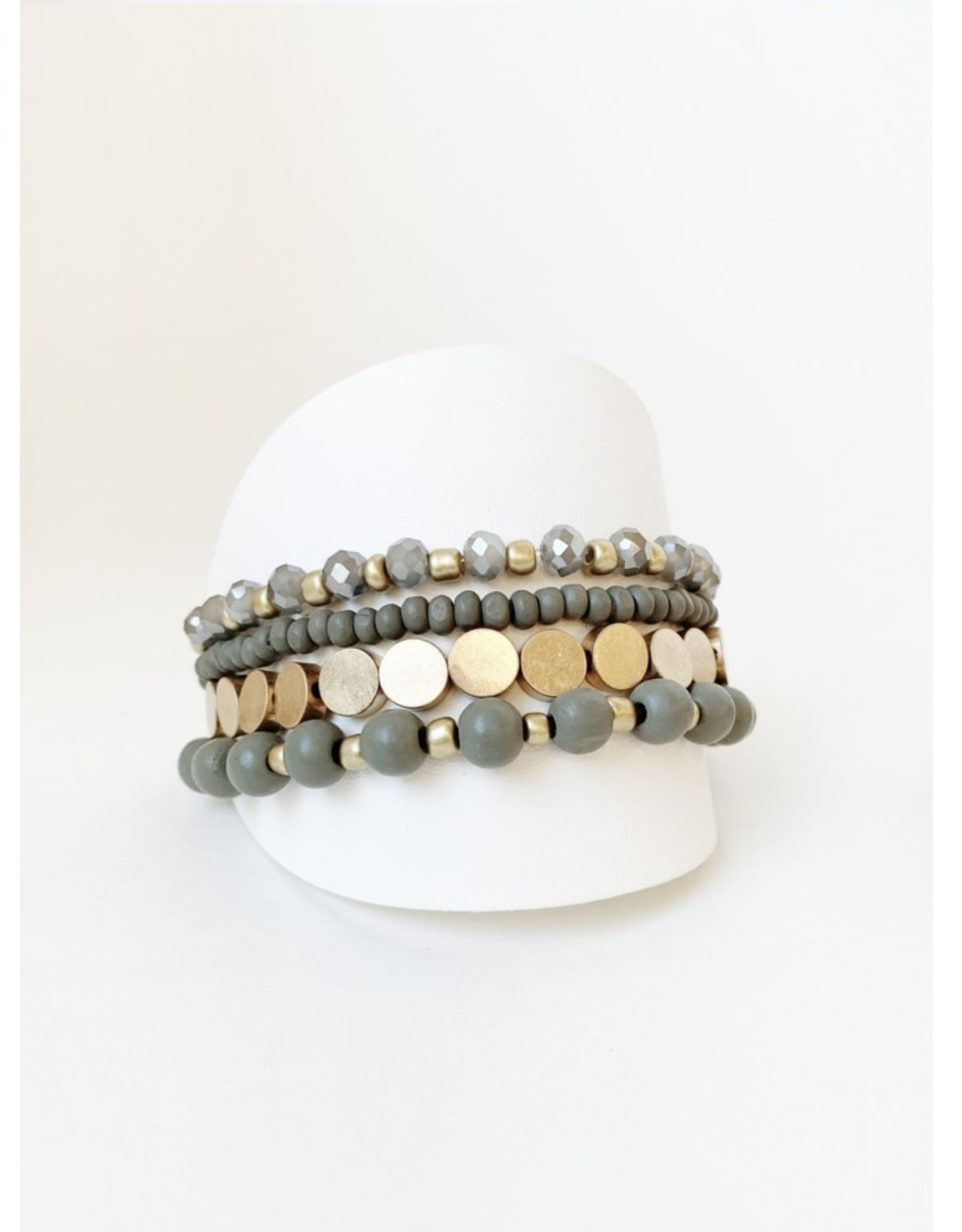 Set of 4 Bracelets with Wood and Metal Beads-grey/gold