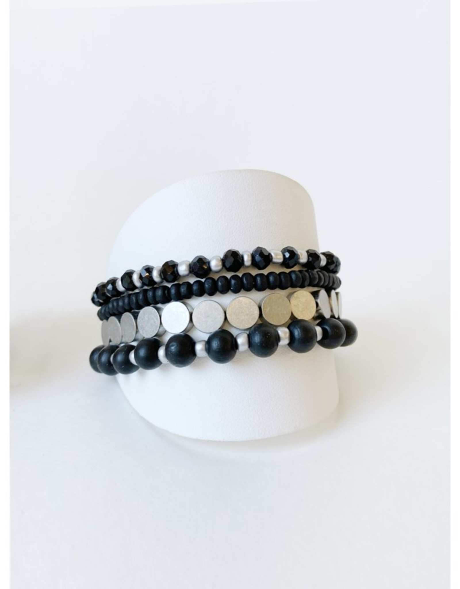 Set of 4 Bracelets with Wood and Metal Beads-black/silver
