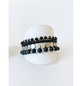 Ens. de 4 bracelets avec billes de bois et métal-noir/argent