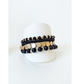 Set of 4 Bracelets with Wood and Metal Beads-black/gold