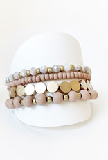 Set of 4 Bracelets with Wood and Metal Beads-pink/gold