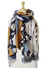 Scarf with butterfly patchwork-yellow