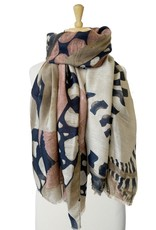 Écharpe avec mosaique style papillon-kaki