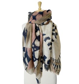 Scarf with butterfly patchwork-khaki