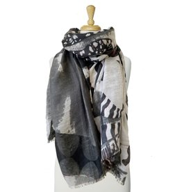 Scarf with butterfly patchwork-black