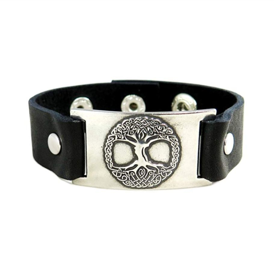 Leather Bracelet: Tree of Life, Leather & Pewter