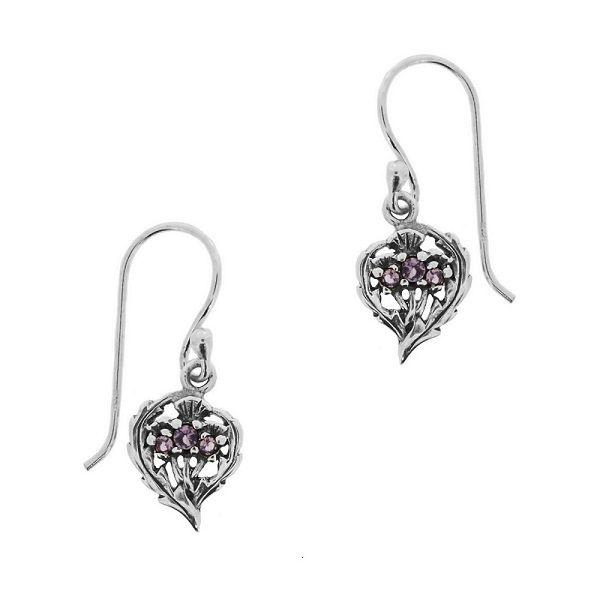 H & Y Earrings: SS Thistle Amethyst