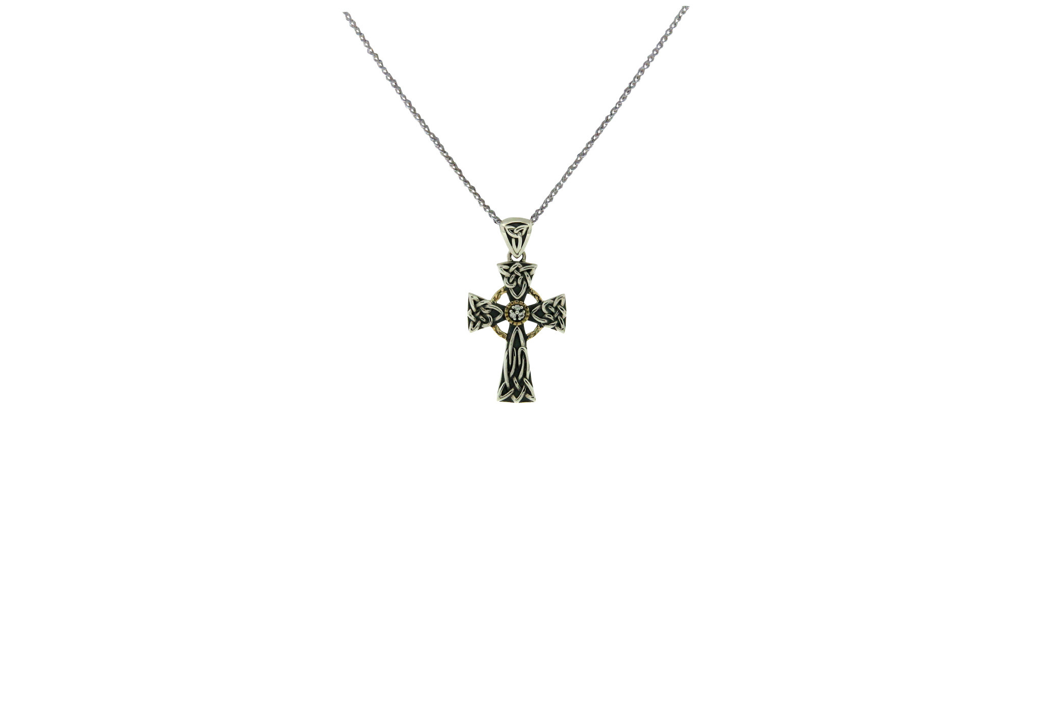 Keith Jack Pendant: SS Wht Sphr 10k Cross Sm