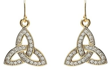 Earrings: 10k Gold CZ Trinity
