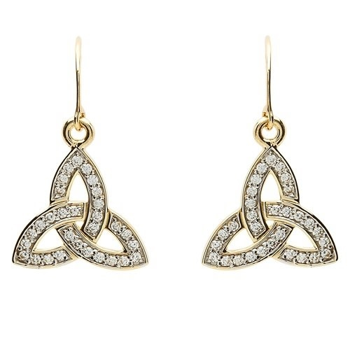 Shanore Earrings: 10k Gold CZ Trinity