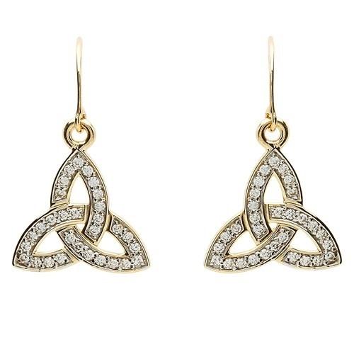 Shanore Earrings: 10k Gold CZ Trinity