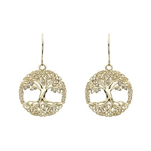Shanore Earrings: 10k CZ Tree of Life