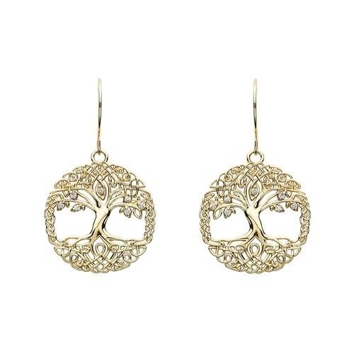 Shanore Earrings: 10k CZ Tree of Life