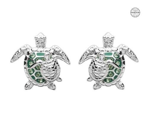 Shanore Earrings: SS SW Crystal Turtle/Baby Stud