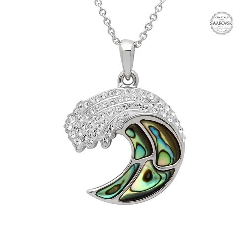 Shanore Pendant: SS SW Crystal Abalone Wave