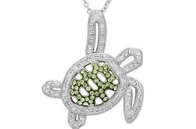Pendant: SS SW Peridot Crystal Turtle