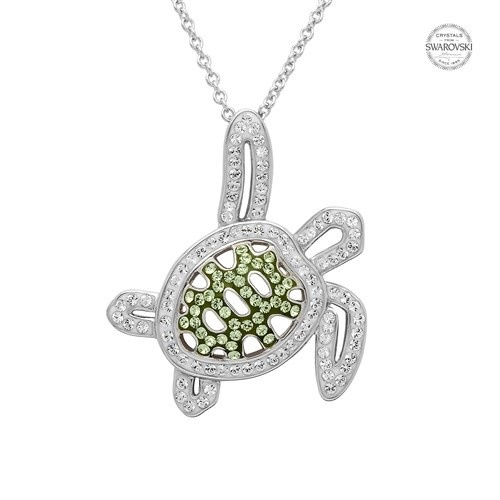 Shanore Pendant: SS SW Peridot Crystal Turtle