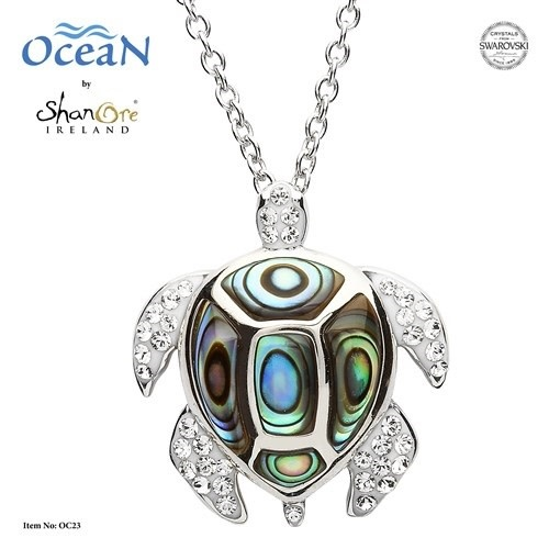 Shanore Pendant: SS Turtle w/Wht Crystals Abalone