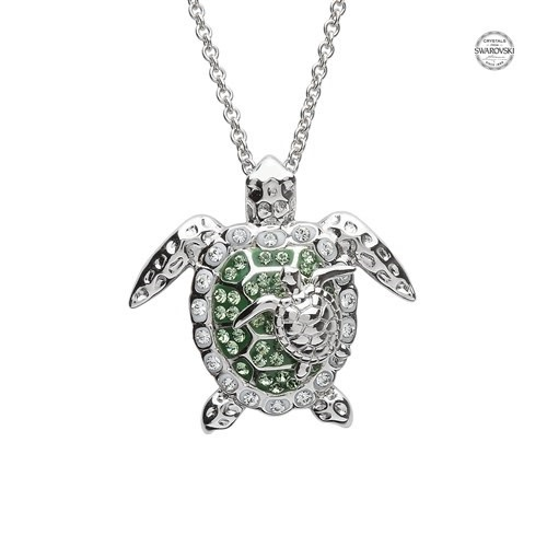 Shanore Pendant: SS Green SW Crystal Turtle/Baby