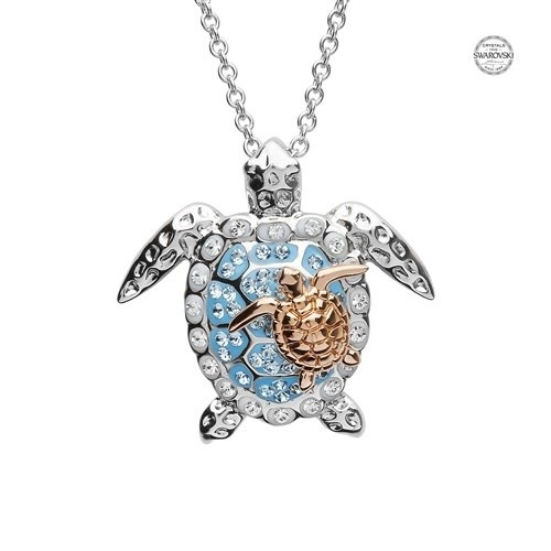 Shanore Pendant: SS SQua SW Crytal Turtle/Baby Rose Plt